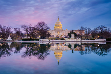 The United States Capitol at sunset, in Washington, DC.