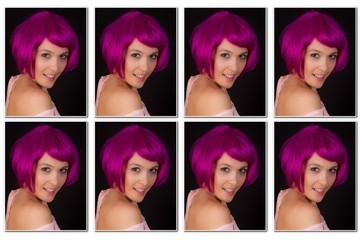 Photos to staple to his resume for woman with pink hair