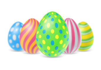 Five Colorful Easter Eggs