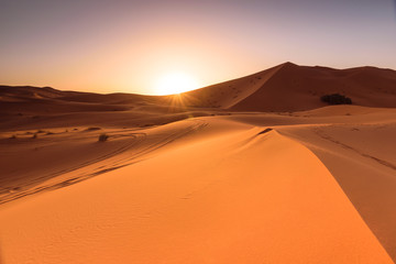 Poster de jardin Desert de sable Erg Chebbi dunes sunrise, Morocco