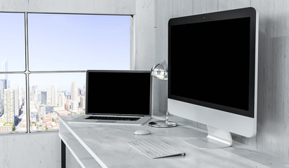 Modern desktop interior with computer and devices 3D rendering