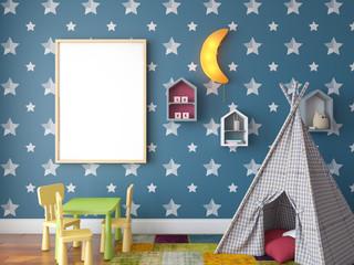 Mock up scene, 3d render, children room, interior