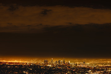 Illuminated cityscape at night, Los Angeles, California, United States of America