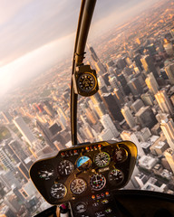 Cockpit of aircraft flying over skyscrapers, Chicago, United States of America