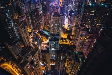 Illuminated cityscape, Hong Kong, East Asia
