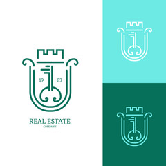 Icon or logo template for real estate agencies or architectural companies. Symbol for corporate branding identity. Label inspiration for advertising, business, web design. Vector illustration.