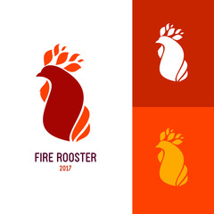 Icon or logo template with red rooster. Symbol for corporate branding identity 2017 year. Label inspiration for advertising, business, web design. Vector illustration.