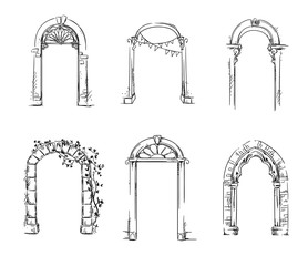 Set of arches. Architectural detail. Vector illustration