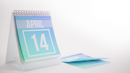 3D Rendering Trendy Colors Calendar on White Background - april 14