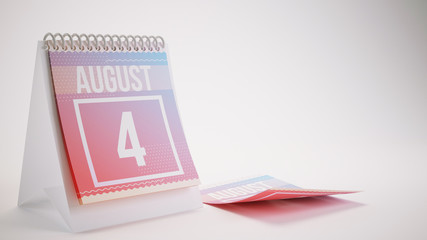 3D Rendering Trendy Colors Calendar on White Background - august 4