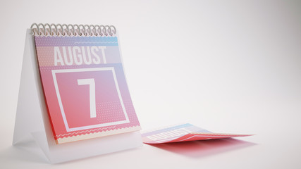 3D Rendering Trendy Colors Calendar on White Background - august 7