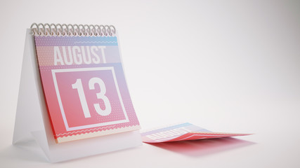 3D Rendering Trendy Colors Calendar on White Background - august 13