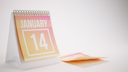 3D Rendering Trendy Colors Calendar on White Background - january 14