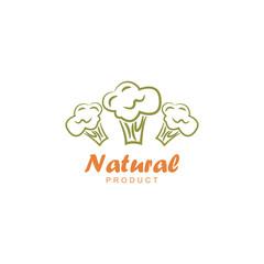 Natural product logo design vector template. Broccoli icon