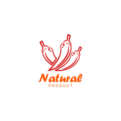 Natural product logo design vector template. Chili icon