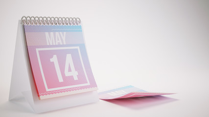 3D Rendering Trendy Colors Calendar on White Background - may 14
