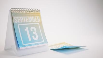 3D Rendering Trendy Colors Calendar on White Background - september 13
