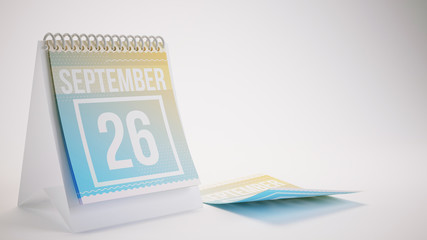 3D Rendering Trendy Colors Calendar on White Background - september 26
