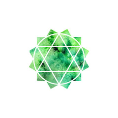 Anahata chakra. Sacred Geometry. One of the energy centers in the human body. Object for design intended for yoga. Vector illustration.