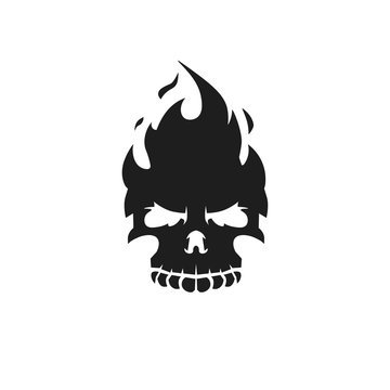 Fire skull icon. Black silhouette on white background. Vector illustration.