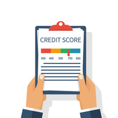 Credit score, gauge. Holding the clipboard in the hands of a man with a personal credit information. Report form document. Vector illustration flat design. Isolated on white background. Graph sheet