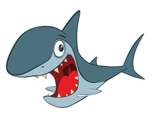 Illustration of Cute Shark. Cartoon Character