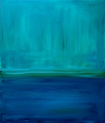 Blue abstract interior oil painting