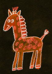 Cartoon giraffe Kids drawing Hand drawn image for kindergarten