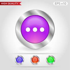 Three points icon. Button with three points icon. Modern UI vector.