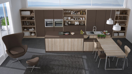 Modern gray and brown kitchen with wooden details, big window with sea or lake panorama, top view