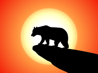 Vector silhouette bear on a rock on a sunset