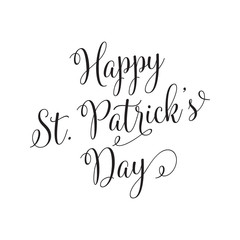 Happy St. Patricks Day Lettering and Curls