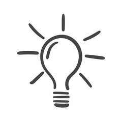 Light bulb icon sketch in vector. Hand drawn idea doodle sign. Vector illustration on white background.
