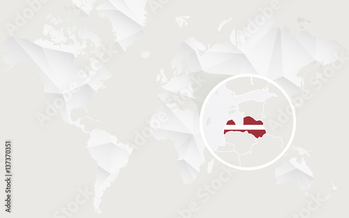 Latvia map with flag in contour on white polygonal world map stock latvia map with flag in contour on white polygonal world map gumiabroncs Images