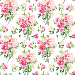 Seamless pattern with summer flowers roses, asters, tulips and leaves.