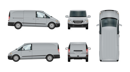 Van vector template. Isolated delivery car on white. The ability to easily change the color.