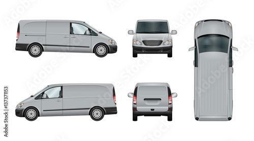 b224f935b094 Van vector template. Isolated delivery car on white. The ability to easily  change the