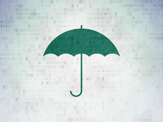 Security concept: Umbrella on Digital Data Paper background