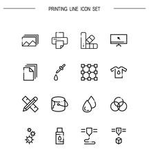 Printing flat icon set.