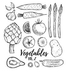 Hand drawn vector illustration - collection of vegetables vol.2(carrots, potatoes, garlic, tomatoes, asparagus, artichoke, avocado, olives).Design elements in sketch style.
