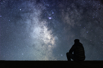 Man looking at the stars