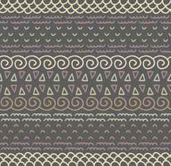 Ethnic textile decorative native ornamental striped seamless pattern in vector.