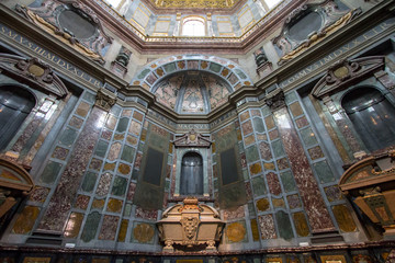 Sarcophagus of Cosimo II in Medici chapel, Florence, Italy