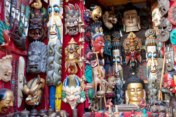 Wooden masks and handicrafts on sale in Bhaktapur, Nepal