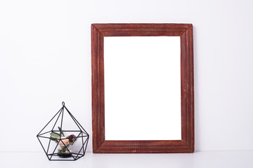 Wooden frame and flowers, home decoration mock-up