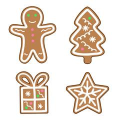 gingerbread man snowflake christmas tree gift icon set illustration vector