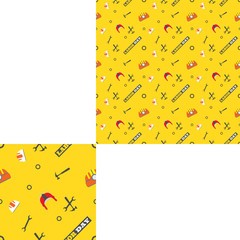 Seamless yellow pattern for Labor Day holiday with pattern unit.