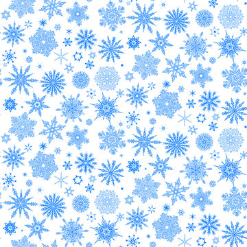 Winter pattern with falling snowflakes