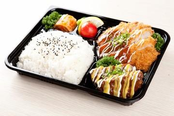 pork cutlet dosirak. lunchbox with pork cutlet