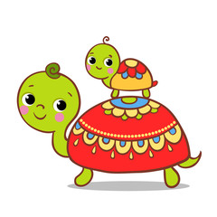 Cute turtle on a white background. Vector illustration of the animal is in the children's style. Turtles sitting on each other.